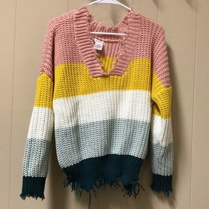 Raw hem color block sweater